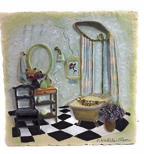 "C. Winterle Olson 3D Bathroom Decorative Resin 7"" X 7"" Wall Tile Plaque"