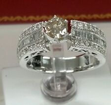 14k white gold engagement 1.47ct tw diamonds Ring. 0.47ct champagne color center
