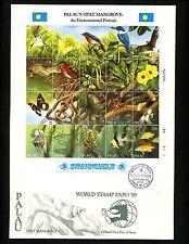 Postal History Palau Oversized FDC Scott #221 Stilt Mangrove fish butterfly 1989