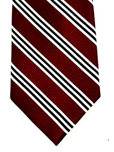 BROOKS BROTHERS Mens Neck Tie Silk Woven In England BURGUNDY STRIPE MADE IN USA
