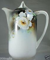 VINTAGE PORCELAIN TEA COFFEE CHOCOLATE POT WHITE W/ BLOSSOM OR CAMELLIA FLOWER