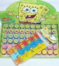 Spongebob Squarepants 12 Pencil & 12 Self Inking Stamper Nickelodeon Party 🎁
