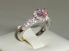 Ladies Art Deco Design Sterling 925 Silver White & Pink Sapphire Cluster Ring