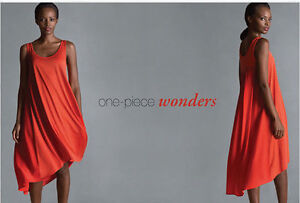 EILEEN FISHER  $248 Silk Cotton Jersey Crepe Orange Dress FIREFLY S