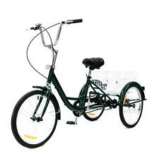 """24"""" 3 Räder Dreirad für Erwachsene mit Einkaufskorb 3-Rad-Fahrrad Trike mit Gift"""