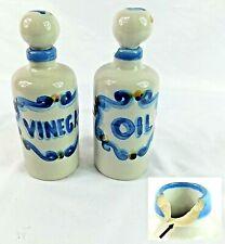 M. A. Hadley Signed Vintage Ceramic Oil & Vinegar Cruets with 1 Defect