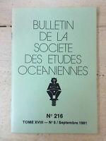 Bulletin de la Société des Etudes Océaniennes * N° 216 / Septembre 1981