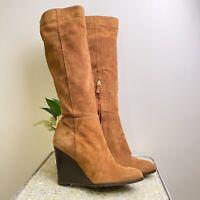 LK Bennett Size UK 8 EU 41 brown suede wedged tall winter boots stunning