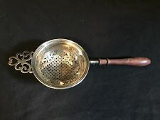 Ornate stamped Made in England Sterling Silver Tea Strainer with Wooden Handle