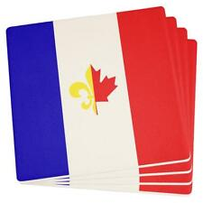 French Canadian Flag Set of 4 Square Sandstone Coasters
