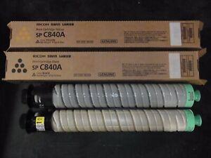 (2)Genuine Ricoh Savin Lanier 821256 821255 Yellow / Black SP C840A Cartridges