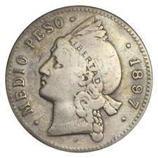 DOMINICAN REPUBLIC 1/2 MEDIO PESO SILVER KM# 15 1897
