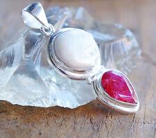 Groß Anhänger 5 cm Silber Handarbeit Rubin Perle Natur Rot Facettiert Elegant