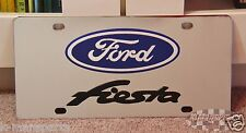 Ford Fiesta stainless steel vanity license plate tag blue oval black lettering