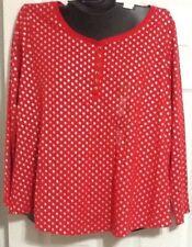 New Cacique Lane Bryant 18/20 Long Sleeve Sleep Shirt Red Silver Polka Dot NWOT