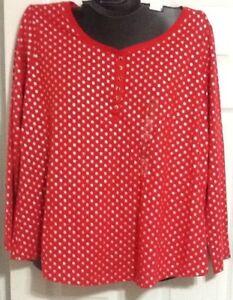 Cacique Lane Bryant 14/16 Long Sleeve Sleep Shirt Red Silver Polka Dot NWOT