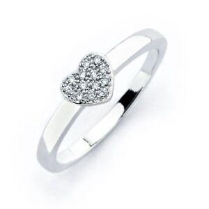 Sterling Silber Mikro Besatz Cz Steine Herz Ring