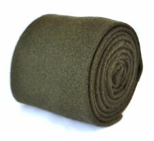 Frederick Thomas plain khaki army dark green wool tie FT2084 RRP£19.99