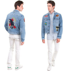 RRP €200 TOP GUN Denim Jacket Size L Distressed Faded Effect Embroidered Panther