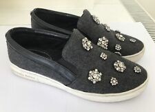 Michael Kors Grey Crystal-Embellished Slip-ons Size 37 (UK 4)