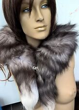 black grey white genuine real fox tail fur collar scarf neck warmer shawl stole