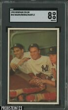 1953 Bowman Color #44 Mickey Mantle Yogi Berra Bauer HOF SGC 8 NM/MT