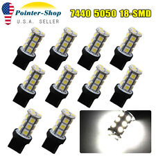 10x Pure White 7440 T20 5050 18-SMD Trailer Tail Backup Reverse LED Light Bulbs