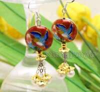 Big 18mm Red Round Cloisonne & 6-7mm White Natural Pearl Dangle earring-ear596