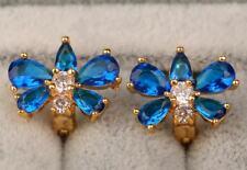 18K Yellow Gold Filled - Navy Blue Topaz Zircon Butterfly  Party Hoop Earrings