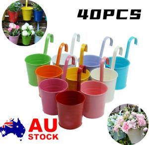 40PC Metal Flower Pot Hanging Balcony Garden Fence Plant Planter Home Wall Decor