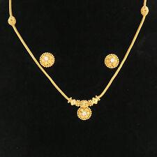 NYJEWEL 22k Gold New Indian Style Screw on Earrings Necklace Bridal Wedding Set