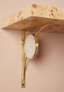 ANTHROPOLOGIE Brushed Brass Rose Quartz L Shaped Shelf Bracket $48 - NEW in BOX