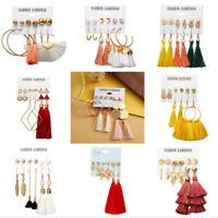 2019 Womens Fashion Bohemian Long Tassel Fringe Boho Dangle Earrings Jewelry Set