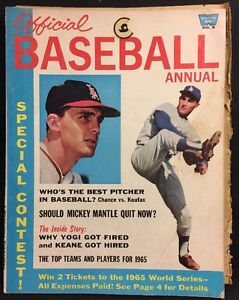 Official Baseball Annual Magazine 1965 No 3 Koufax Chance Cover