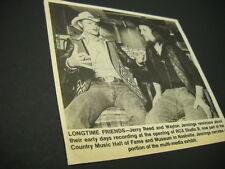 JERRY REED chats w/ WAYLON JENNINGS at RCA Studio B 1983 music biz image w/ text