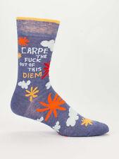 Men's Crew Socks, Carpe the Diem, Blue Q Cotton Novelty Father's Day Gift