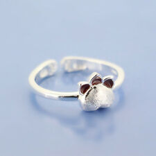 925 Silver Cute Cat Paw Rings For Women Wedding Jewelry Open Adjustable Ring