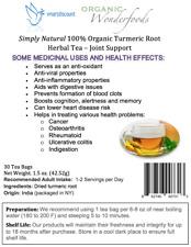 Simply Natural 100% Organic Turmeric Root Herbal Tea 30 Tea Bags- Joint Support