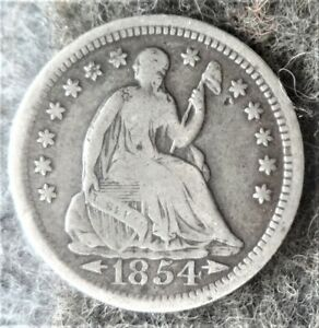 Silver 1854 US Philadelphia Mint Seated Liberty Half Dime -Type 3 - Arrows