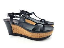 Prada Black Patent Leather Wedge Sandals, Women's Shoe US size 9/ EU 39
