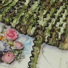 1y VTG FRENCH CELERY GREEN STRETCH TRIM ROSETTE ANTQ DOLL DRESS RIBBON JACQUARD