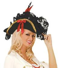 Pirate Hat Lace Feather Bow Details Buccaneer Swashbuckler British Navy 9147H