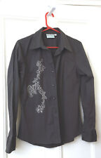 Ladies MISH MASH Long Sleeve Shirt. Size 10/12 cotton with white embroidery NEW