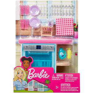Barbie Indoor Furniture Set with Kitchen Dishwasher FXG35