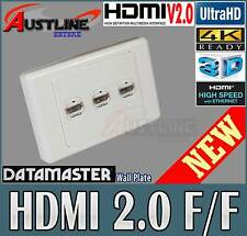 3Port Datamaster Wall Plate +3 HDMI V2.0 /1.4 Gold Plate Jack 3D 4K *50%off*