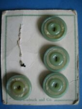 """New listing 4 Vintage Green Buttons on card 1 1/8"""" Round Raised Rim & Center Sears Roebuck"""
