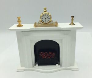 Dolls House White Fireplace And Ornaments