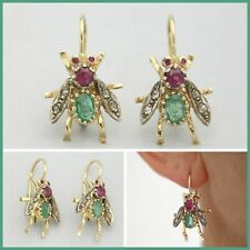 14k Solid Yellow GOLD Real EMERALD RUBY Bumble Bee Insect Bug Leverback Earrings
