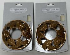 TWO NEW On Card Yankee Candle AMBER LEAVES Illuma-Lid Jar Topper Copper Fall NOC
