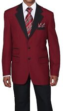 Men's Two Button Poplin Dacron Fashion Suit 7022 Color Red, White All Size